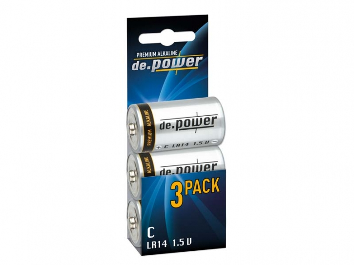 de.power Premium Alkaline C-Cell-Batterie, 3er Pack