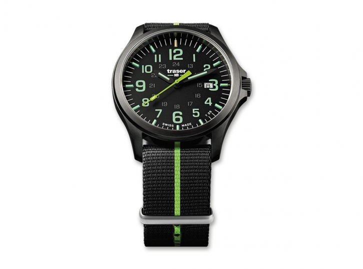 Traser P67 Officer Pro Gunmetal Black & Lime Nato