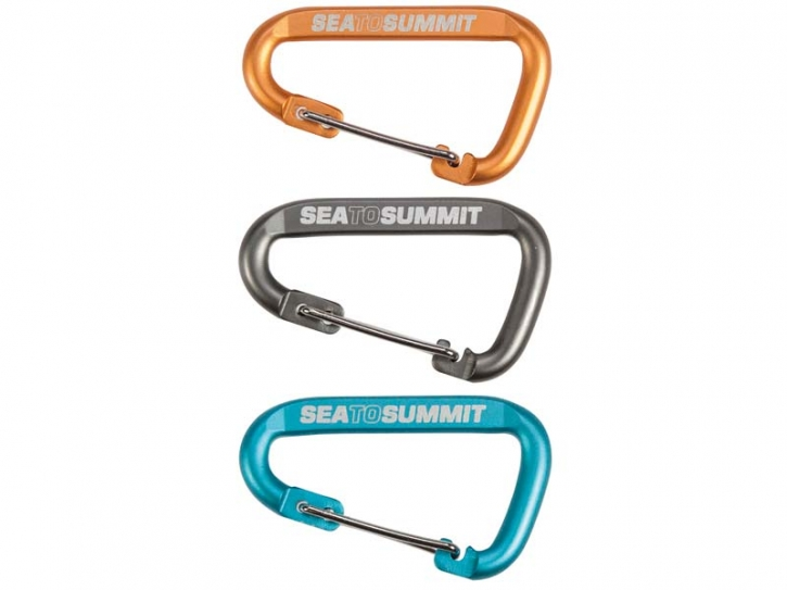 Sea to Summit ACCESSORY CARABINERS, Karabiner-Set, 3-teilig, Kleinkarabiner mit Draht-Schnapper, 60